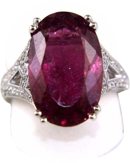 Preload https://img-static.tradesy.com/item/24181416/pink-and-silver-oval-tourmaline-gemstone-wdiamond-accents-14k-wg-900ct-ring-0-1-540-540.jpg