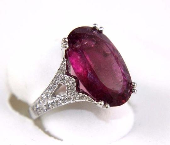 Other Oval Pink Tourmaline Gemstone Ring w/Diamond Accents 14k WG 9.00Ct
