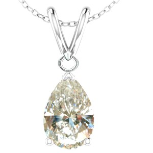 Unknown 1.00ct White Pear Moissanite Sterling Silver Chain