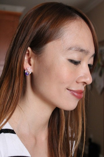 Ocean Fashion Pink Lovely flower and cubic gold rim earrings