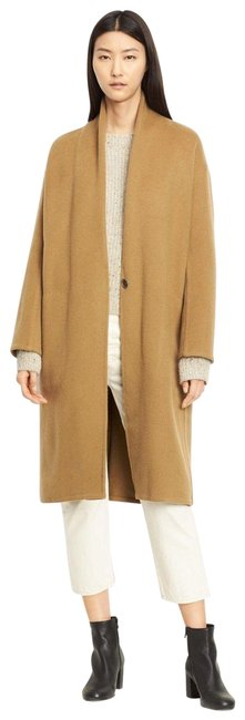 Item - Brown High Collar Long Wool Blend Oversized Coat Size 6 (S)