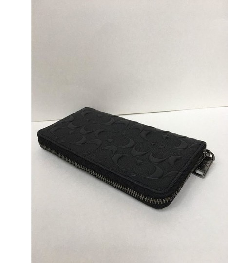 Coach COACH men's Embossed logo leather zip around phone long wallet f 58113
