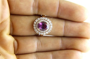 Other Oval Pink Tourmaline Gemstone Ring w/Diamond Halo 14k RG 3.28Ct