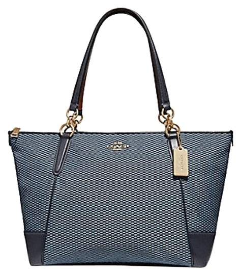 Preload https://img-static.tradesy.com/item/24181482/coach-ava-legacy-jacquard-f-57246-blue-leather-tote-0-1-540-540.jpg