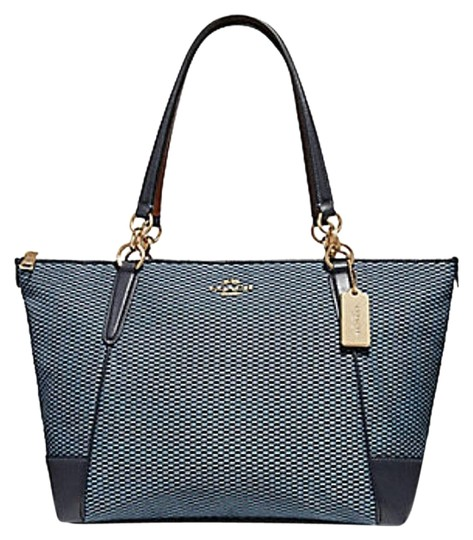 Preload https://img-static.tradesy.com/item/24181490/coach-ava-legacy-jacquard-f-57246-blue-leather-tote-0-1-540-540.jpg