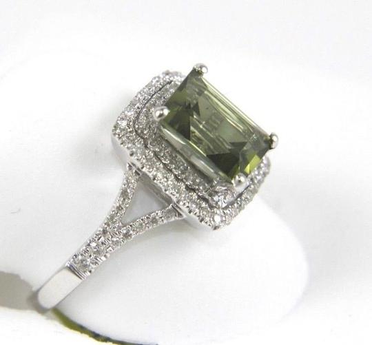 Other Emerald Cut Green Tourmaline & Diamond Square Ring 1.94Ct 14k WG