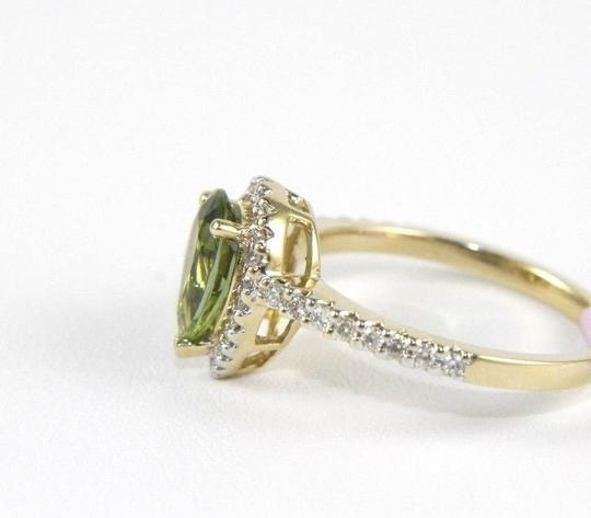 Other Pear Shape Green Tourmaline & Diamond Solitaire Ring 14k YG 1.40Ct