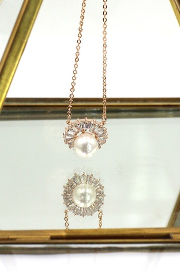 Ocean Fashion 925 rose gold Lovely pearl crystal necklace