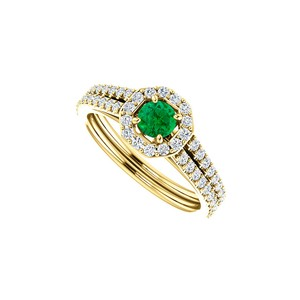 DesignByVeronica One Carat Emerald and Double CZ Octagon Style Ring Gold