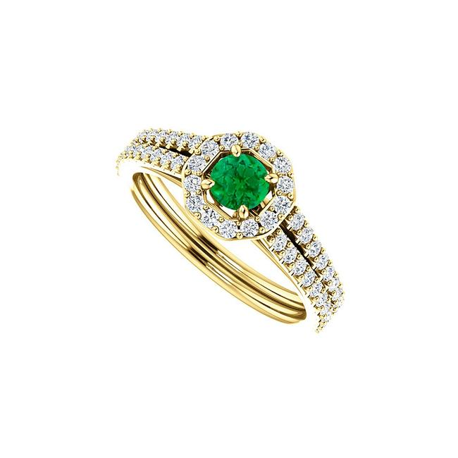 Unbranded Green One Carat Emerald and Double Cz Octagon Style Gold Ring Unbranded Green One Carat Emerald and Double Cz Octagon Style Gold Ring Image 1