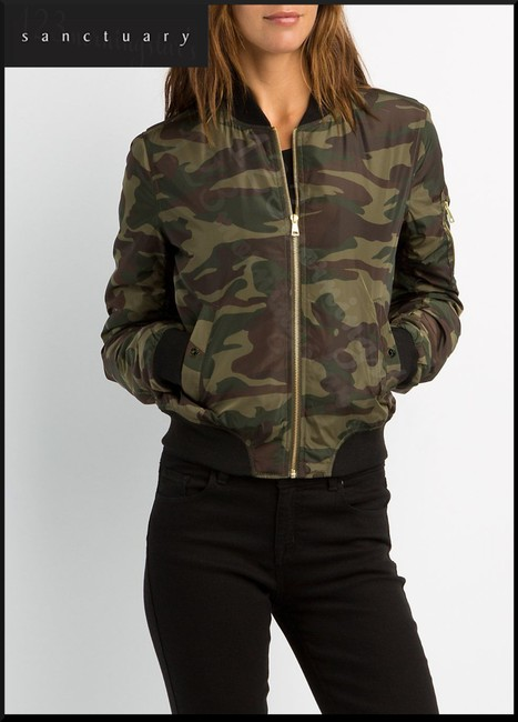 Sanctuary Baseball Collar Front Full Zip Welt One-zip Camouflage Print Khaki-Green Jacket
