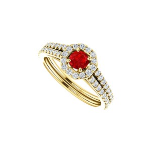 DesignByVeronica Crisp Red Hue Ruby and CZ Octagon Style Halo Ring Gold