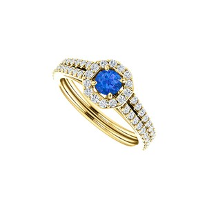 DesignByVeronica Round Sapphire Double Row CZ Octagon Style Halo Ring