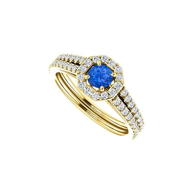 Unbranded Blue Round Sapphire Double Row Cz Octagon Style Halo Ring Unbranded Blue Round Sapphire Double Row Cz Octagon Style Halo Ring Image 1