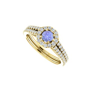 DesignByVeronica Round Tanzanite Double Row CZ Octagon Style Halo Ring