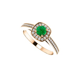 DesignByVeronica May Birthstone Emerald and CZ Square Halo Ring 14K Gold