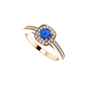 DesignByVeronica Round Sapphire and CZ Square Halo Ring 14K Rose Gold
