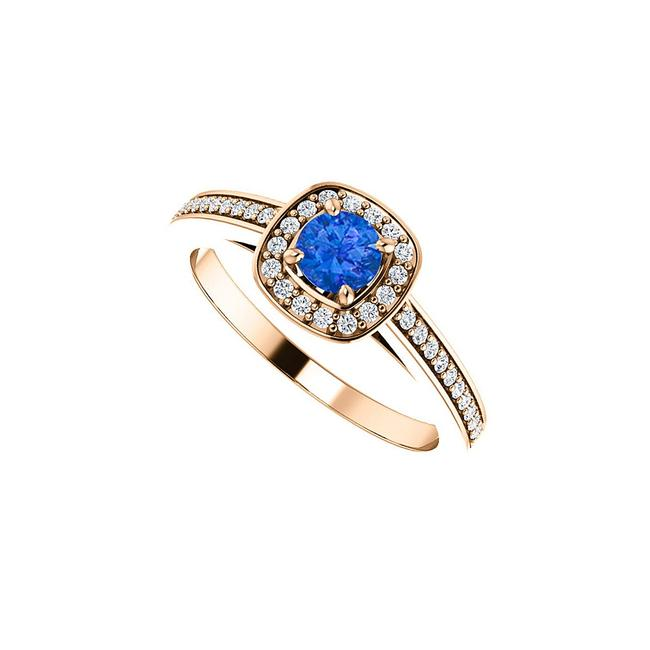 Unbranded Blue Round Sapphire and Cz Square Halo 14k Rose Gold Ring Unbranded Blue Round Sapphire and Cz Square Halo 14k Rose Gold Ring Image 1