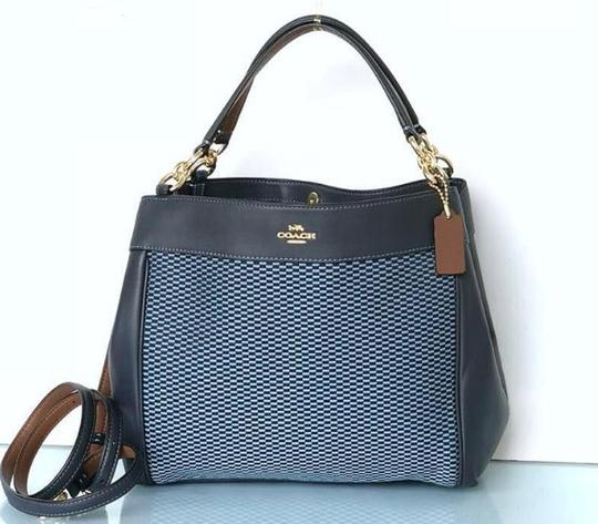 Coach Leather Tags New Edde Large Satchel in blue