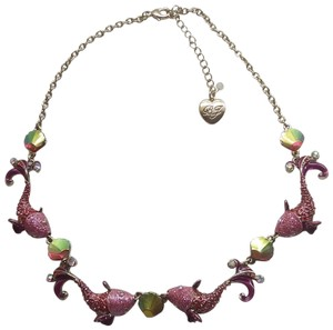 Betsey Johnson Betsey Johnson New Hot Pink Dolphin/Seashell Necklace