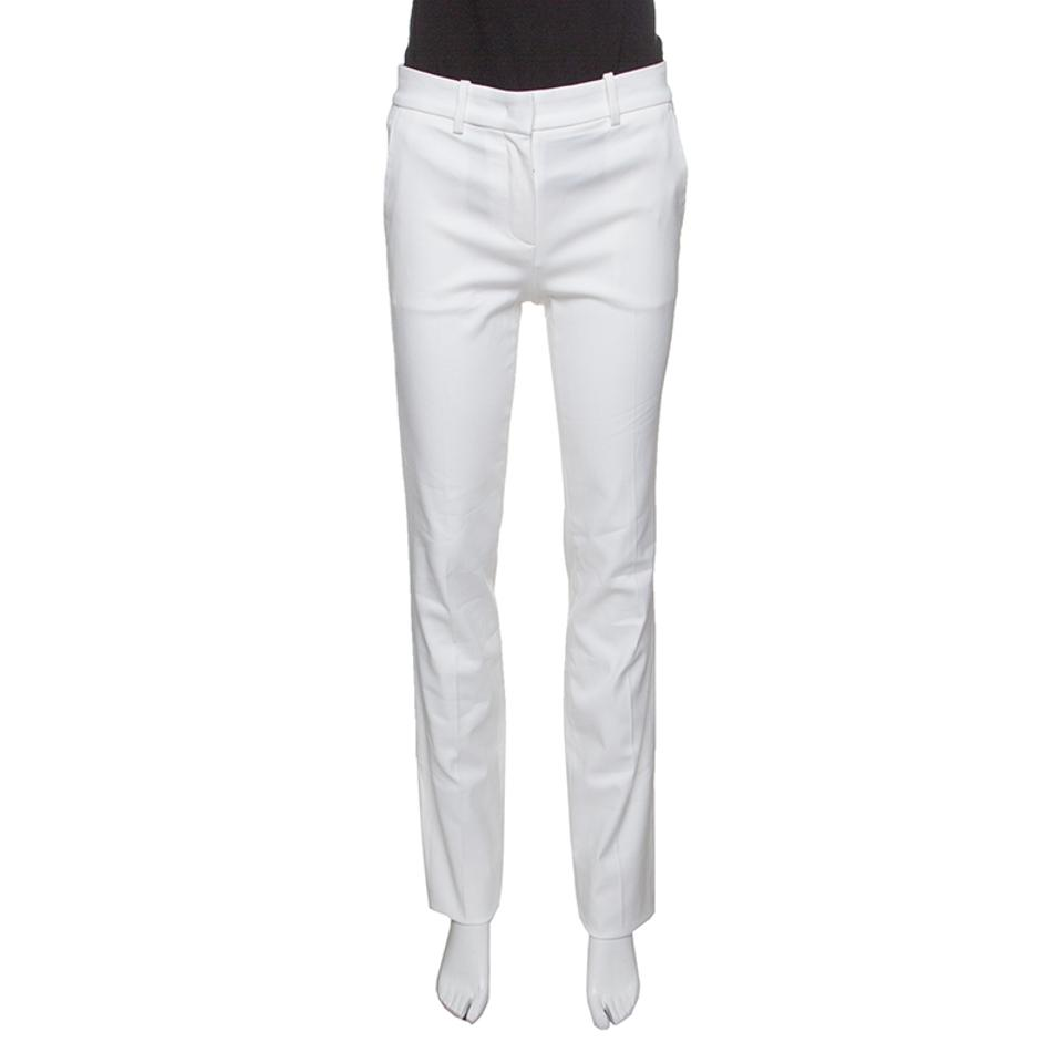 ebf38b85e5 Roberto Cavalli White Firenze Cotton High Waist Straight Fit Pants S ...