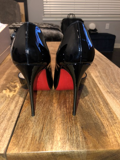 Christian Louboutin Patent Leather Jumping Red Soles Pointed Toe Black Pumps