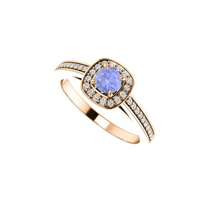 DesignByVeronica Serene Tanzanite and CZ Square Halo Ring 14K Rose Gold