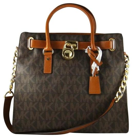 Preload https://img-static.tradesy.com/item/24181708/michael-kors-large-hamilton-monogram-new-with-tags-brown-signaturegold-hardware-pvcleather-tote-0-0-540-540.jpg