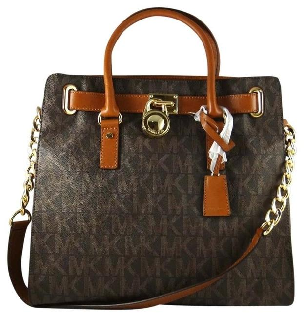 Michael Kors Bag Large Hamilton Monogram (New with Tags) Brown Signature/Gold Hardware Pvc/Leather Tote Image 1