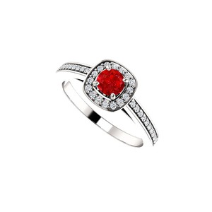 DesignByVeronica Brilliant Cut Ruby CZ Square Halo Ring 14K White Gold