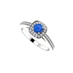 DesignByVeronica Round Sapphire and CZ Square Halo Ring 14K White Gold