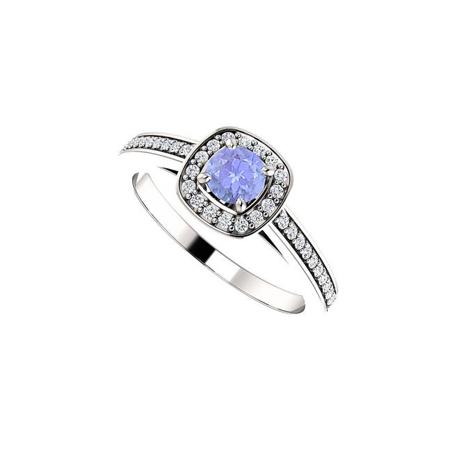 Blue Round Tanzanite and Cz Square Halo In 14k Gold Ring Image 1