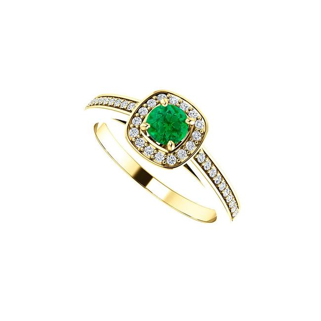 Green May Gem Emerald and Cz Square Halo 14k Yellow Gold Ring Image 1