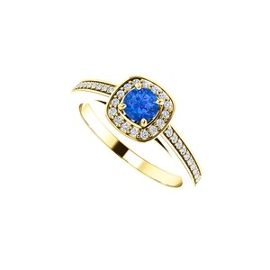 DesignByVeronica Round Sapphire and CZ Square Halo Ring 14K Yellow Gold