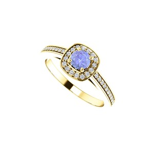 DesignByVeronica Round Tanzanite and CZ Square Halo Ring in 14K Gold