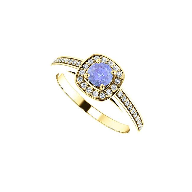 Unbranded Blue Round Tanzanite and Cz Square Halo In 14k Gold Ring Unbranded Blue Round Tanzanite and Cz Square Halo In 14k Gold Ring Image 1
