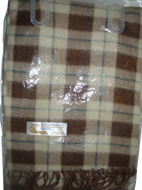 Royal Rossi Brown Tan Ivory Plaid Checked Gingham Cashmere Muffler Scarf/Wrap Royal Rossi Brown Tan Ivory Plaid Checked Gingham Cashmere Muffler Scarf/Wrap Image 1