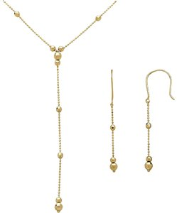 Macy's Lariat and Earring Set in 14K Yellow Gold