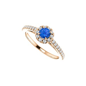 DesignByVeronica Brilliant Cut Sapphire CZ Halo Ring in 14K Rose Gold