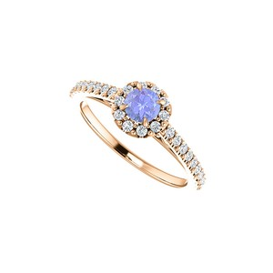 DesignByVeronica Brilliant Cut Tanzanite CZ Halo Ring in 14K Rose Gold