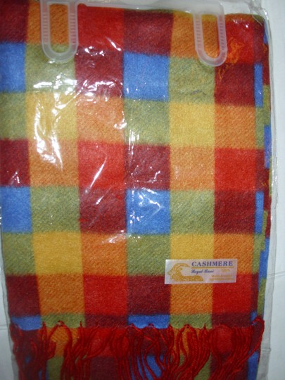 Royal Rossi Bright colorful cashmere plaid scarf unisex fringe muffler gift new