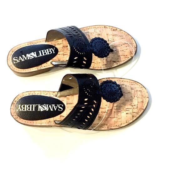 Sam & Libby Whipstitch Thong Flip Flops Cork Jack Rogers Black Sandals