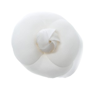 Chanel White Camellia Silk Organza Brooch