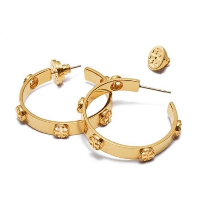 Tory Burch Gold Milgrain Hoop Earrings Image 1