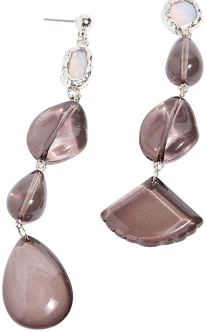Item - Smoke Crystal Clear Asymmetrical Earrings