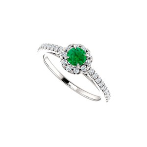DesignByVeronica Stunning Emerald and CZ Halo Ring in 14K White Gold