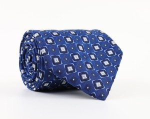 Blue / White Silk Necktie Blue/White Geometric Pattern Long Tie/Bowtie