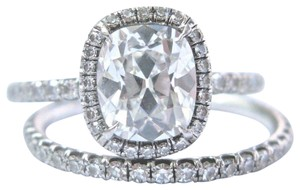 custom Vintage Platinum Old Miner Cushion Cut Diamond Engagement Set 2.23Ct G