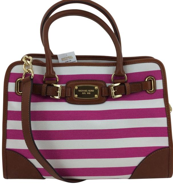 Michael Kors Hamilton Large Satchel Chain (New with Tags) Fuchsia White Stripe/Gold Hardware Leather Tote Image 1