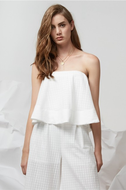 Finders Keepers Revolve Strapless Zipup Top white